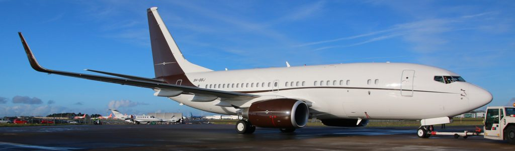 Boeing business jet arrives at Bristol Airport